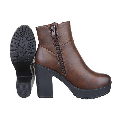 Ital-Design Women's Biker Boots Brown Hg40UOkk