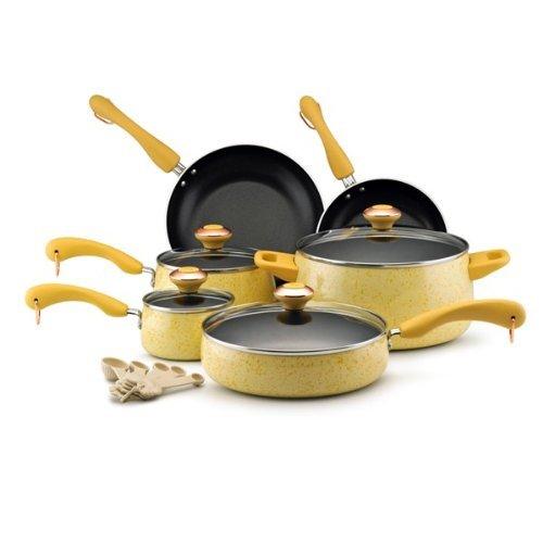 Nonstick 15-Piece Porcelain Cookware Set by Paula Deen ()