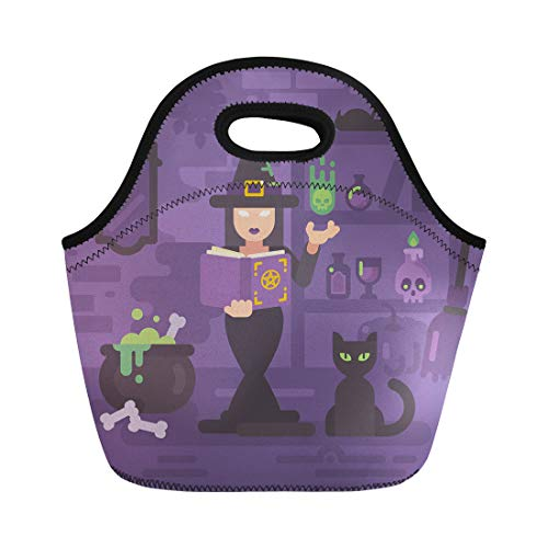 Semtomn Neoprene Lunch Tote Bag Witch in Her House Studying Magic Young Sorceress Casting Reusable Cooler Bags Insulated Thermal Picnic Handbag for Travel,School,Outdoors, Work ()