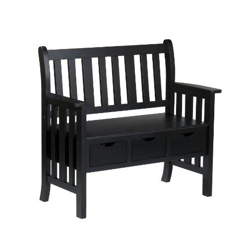 Southern Enterprises, Inc 3-Drawer Black Country Bench