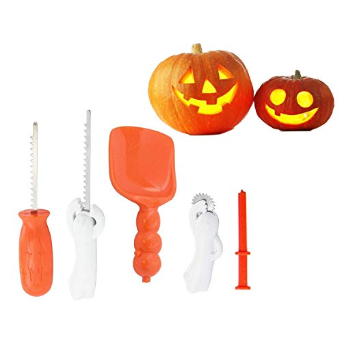 5 Pcs Halloween Pumpkin Carving Kit for Kids Jack O' Lantern and Fruit Carver Knife Tool for Family Festive Party DIY Pumpkin Craft Carving Kit Tools Set