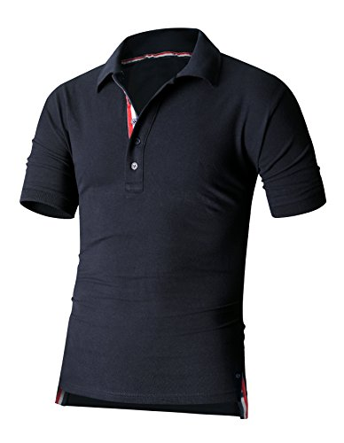 HARRISON83 Mens Short Sleeve Button Placket Golf Tennis Polo (Tennis Button)