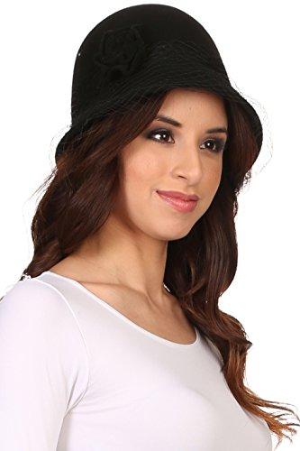 Sakkas CL2161 - Lola Vintage Style Wool Cloche Bucket Fish Net With Flower Brim Cap Hat - Black - OS