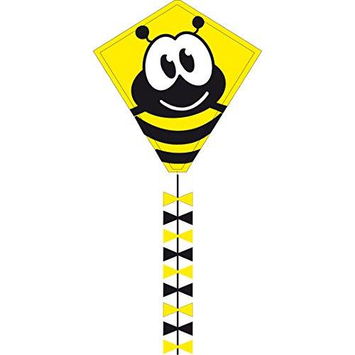 Invento 102104 - Ecoline Eddy Bumble Bee Kinderdrachen Einleiner, Ab 5 Jahren, 50 x 45 cm und 2.5 m Drachenschwanz Ripstop-Polyester 2-5 Beaufort