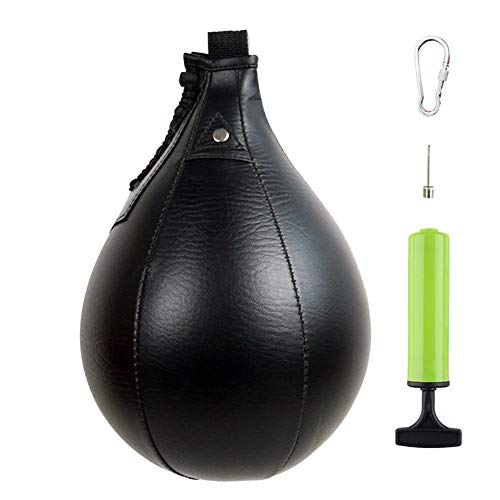 MXiiXM Boxing Speed Bag, Leather Hanging Punching Ball with Pump and Metal Hook for Boxing MMA Muay Thai Fitness…