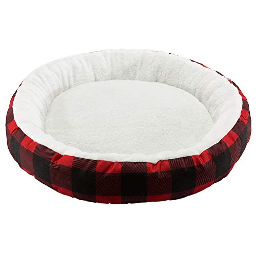 Hollypet Printed Flannel Round Plush Dog Cat Bed Self-Warming Pet Bed, Red Checked For Sale