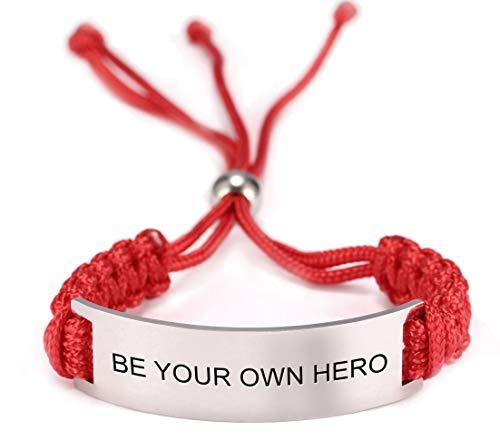 TEAMER Inspirational Bracelet Quote Stainless Steel Red Rope Graduation Message Encouragement Bracelet Unisex Jewelry Men