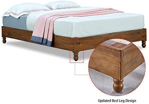 MUSEHOMEINC 12 Inch Solid Wood Bed Frame Rustic Style Eliminates The Need for a Boxspring, Natural Finish, King