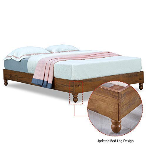 MUSEHOMEINC 12 Inch Solid Wood Bed Frame Rustic Style Eliminates The Need for a Boxspring, Natural Finish, - Painted Pine Headboard
