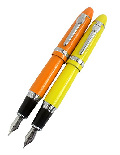2 PCS Jinhao 159 Big Barrel Fountain Pens in 2 Colors(Orange, Yellow) with Transparent Pen Pouch