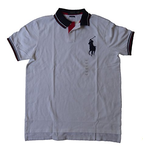 Red Big Pony - Polo Ralph Lauren Men's Custom Fit Big Pony Mesh Polo Shirt (XX-Large, White / Multi Collar)