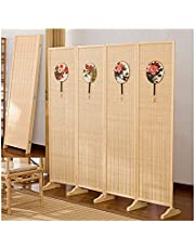 Folding Room Divider 4 Panel Partition Wall Screen Pine Wood Frame, Strong Corrosion Resistance, Hard, Not Easy to Deform Temporary Wall Divider for Rooms and Offices