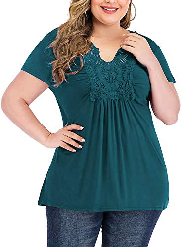 YASAKO Womens Pleated Tops Plus Size V-Neck Lace Blouse Swing T-Shirts Flowy Short Sleeve Casual Tunic (Blue, 4X-Large)
