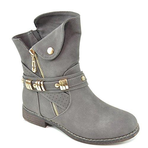 King Of Shoes Damen Stiefeletten Stiefel Schnalle Schlupf Biker Boots Nieten Reißverschluss Blockabsatz 811 Grau