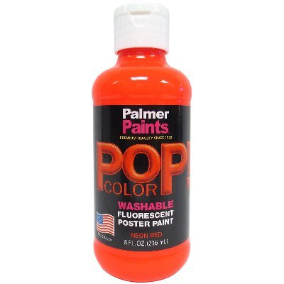 Palmer 56095-6 Prism Tempera Neon Poster Paint, 8 oz, Red (Palmer Prism Acrylic Paint)