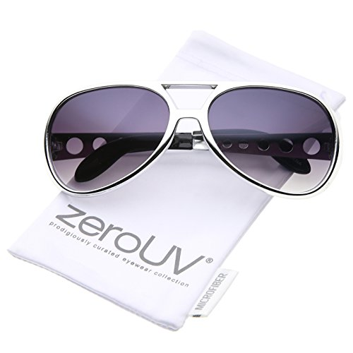[zeroUV - Large Elvis King Of Rock & Roll Aviator Sunglasses 63mm (Silver / Lavender)] (Contact Lenses Costume)