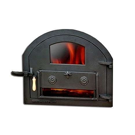 Puerta de fundición con cristal para horno de leña (peso: 22 Kg)