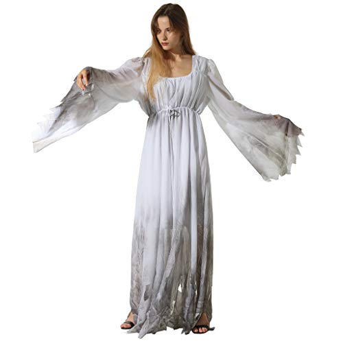 EraSpooky Women Gossamer Ghost Costume Gothic Victorian White Fancy Dress -