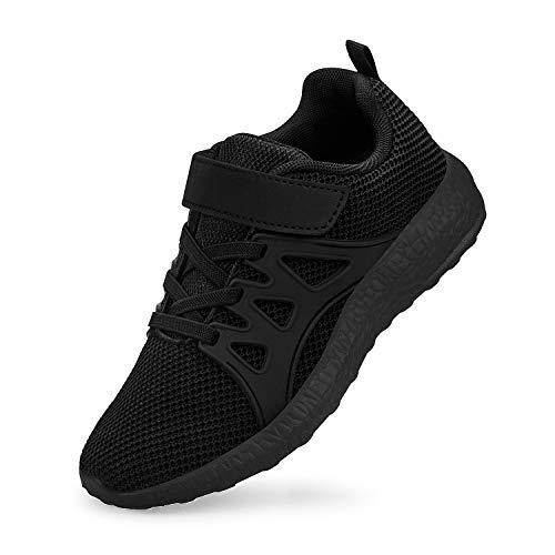 QANSI Child Kids Fashion Sneakers Ultra Lightweight Breathable Athletic Running Walking Casual Shoes Girls Boys Black 1M(US) Big Kid