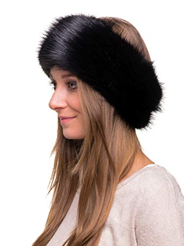 2bbf0b7861f Futrzane Winter Faux Fur Headband for Women and Girls (Black ...