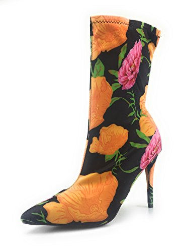 Anne Michelle Vrouwen Puntige Slofjes Met Smalle Hak Rekbare Materiaal Elastane Puntige Neus Stiletto Laarsjes (7, Oranje Bloem)