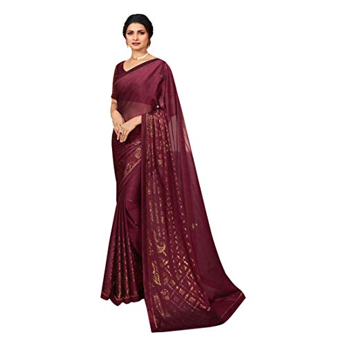 Georgette Zari Shimmer Saree Blouse Light Sari Indian Fashion Women Party Formal 8111 (Unstitched Blouse pc, Wine)
