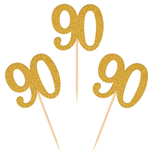 Donoter 50pcs 90th Cupcake Toppers Gold Glitter Number 90 Cake Picks for Birthday Anniversary Party Decoration