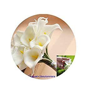 Artificial-Flowerstouch Pu Artificial 15Pcs Calla Lily Bridesmaid Flowers Wedding Boutonniere Bridal Wedding Bouqute,1 Set 61