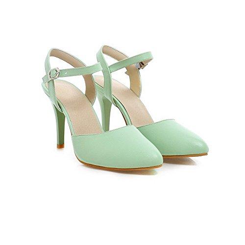 Amoonyfashion Kvinners Lukket Tå Pigger Stil Soft Vesentlige Fast Spenne Hæl-sandaler Grønne
