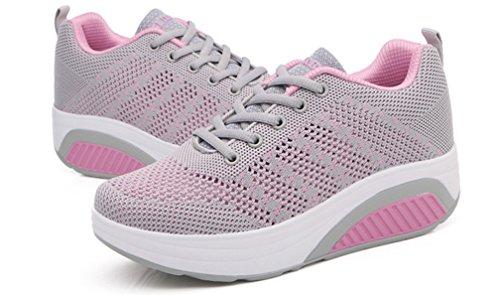Para Zapatos Mujer Andar Exterior de Hishoes Moda Atlético Cómodo de Casuales Deporte de Zapatos Señoras Gris Chicas Verano Corriendo Zapatilla qaxp5