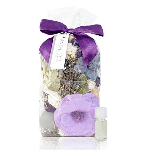 Andaluca Amber Lavender Potpourri   Large 20 oz Bag + Fragrance Vial   Scents of Crushed Lavender, Crystal Amber, White Eucalyptus, Sheer Musk and Sage   Purple Home Decor Fragrance