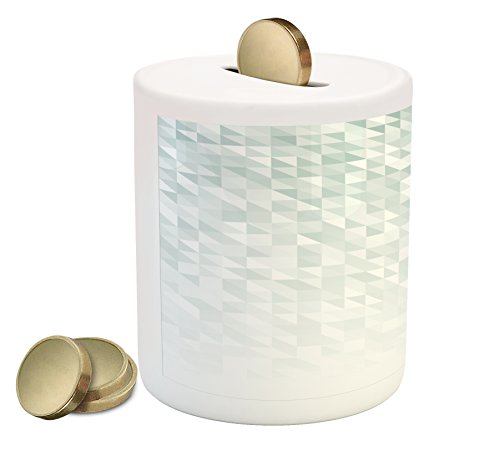 Tablecloth Triangles Pool (Lunarable Grey Piggy Bank, Faded Cubes and Triangles Abstract Mosaic with Digital Effects Gradient Colors, Printed Ceramic Coin Bank Money Box for Cash Saving, Mint Green White)