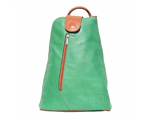 Tan Womens Mini Leather (LaGaksta Small Sling Italian Leather Backpack Purse Light Green-Tan)