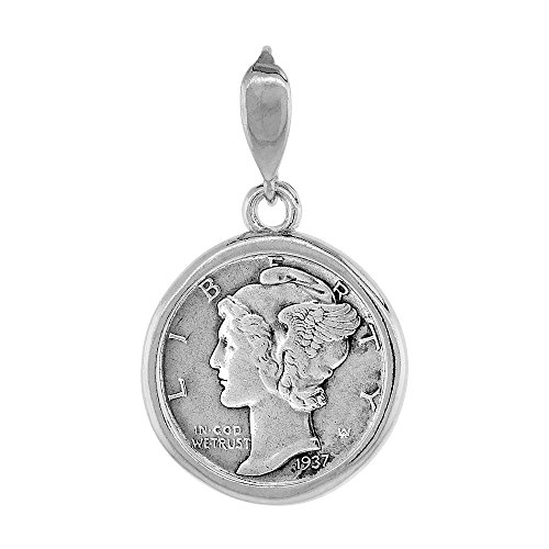 Dime Pendant (Sterling Silver Dime Bezel 18 mm Coins Prong Back Round Edge 10 cent)