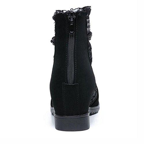 Bottes Épais Pointu Respirant talon Filles Mesdames 2018 Mi Femme Black Dentelle Pour Chaussures Xie Réseau 37 Noir Talons Printemps Sandales AIFgqx4R