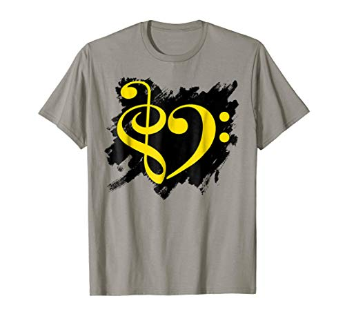 Treble Clef Bass Clef Yellow Heart Grunge Brush Strokes Music Lover Bassist T-Shirt