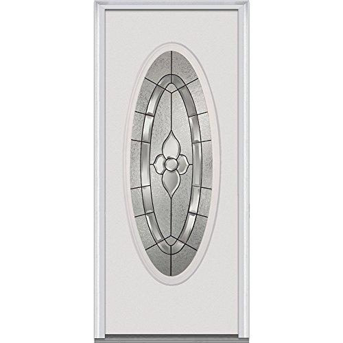 National Door Company Z001477R Steel Prehung Right Hand In-Swing Entry Door Master Nouveau Decorative Glass Full Oval Lite 30 x 80