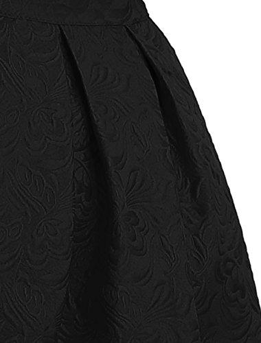 fleurs Noir K en jacquard Allegra taille ample haute Femme Jupe plisse et O784qx