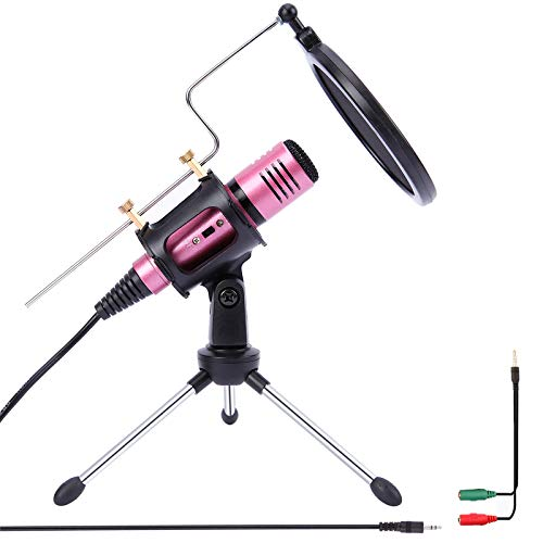 TKOAIY 3.5mm PC Microphone Computer Studio Condenser Mic for PC, Laptop, Mobile, Ipad, MAC, Windows,for Recording, Podcast, Online Chatting, YouTube(Pink)