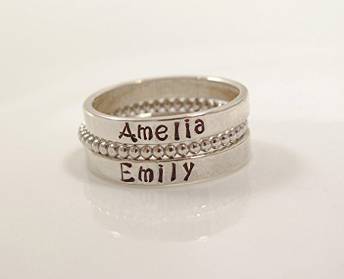 Personalized Sterling Silver Stackable Name Ring-