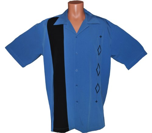 Mens retro bowling shirt big tall sizes alaska blue for Tall mens dress shirts