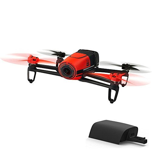 Parrot BeBop Drone 14 MP Full HD 1080p Fisheye Camera Quadcopter (Red) w/ Extra Battery