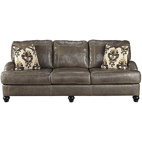 Ashley Kannerdy Leather Sofa In Quarry