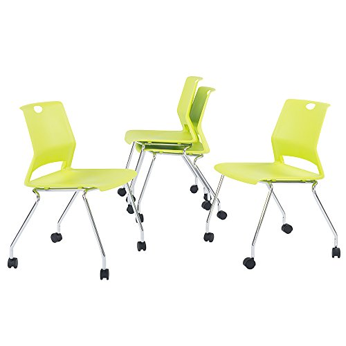 Sidanli Guest & Reception Chairs with Wheels- Green (Set of 4)