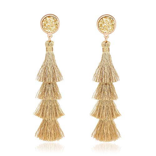 VOGUEKNOCK Tiered Tassel Drop Earrings Druzy Round Top Earring Studs for Women (Gold)