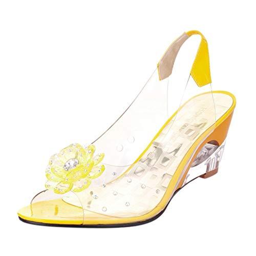 Newlyblouw 2019 New Women Sweet Fashion Wedges Roma Shoes Ladies Summer Casual Crystal Flower Peep Toe High Heel Sandals Yellow