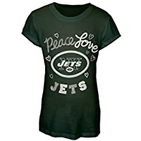 New York Jets - Glitter Peace Love Logo Girls Youth T-Shirt - 20 Dark Green