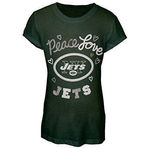 Gifts Kids Dark T-shirt (New York Jets - Glitter Peace Love Logo Girls Youth T-Shirt - 20 Dark Green)