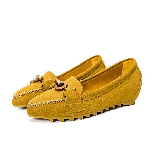 FLYRCX Zapatos Planos de Cuero Acentuados Zapatos Casuales cómodos de Las señoras de los Zapatos Planos de la Manera Ocasional de la Hebilla del Metal E