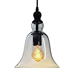 Buyee Vintage Big Bell Glass Vintage Retro Ceiling Pendant Light Hanging Lamp